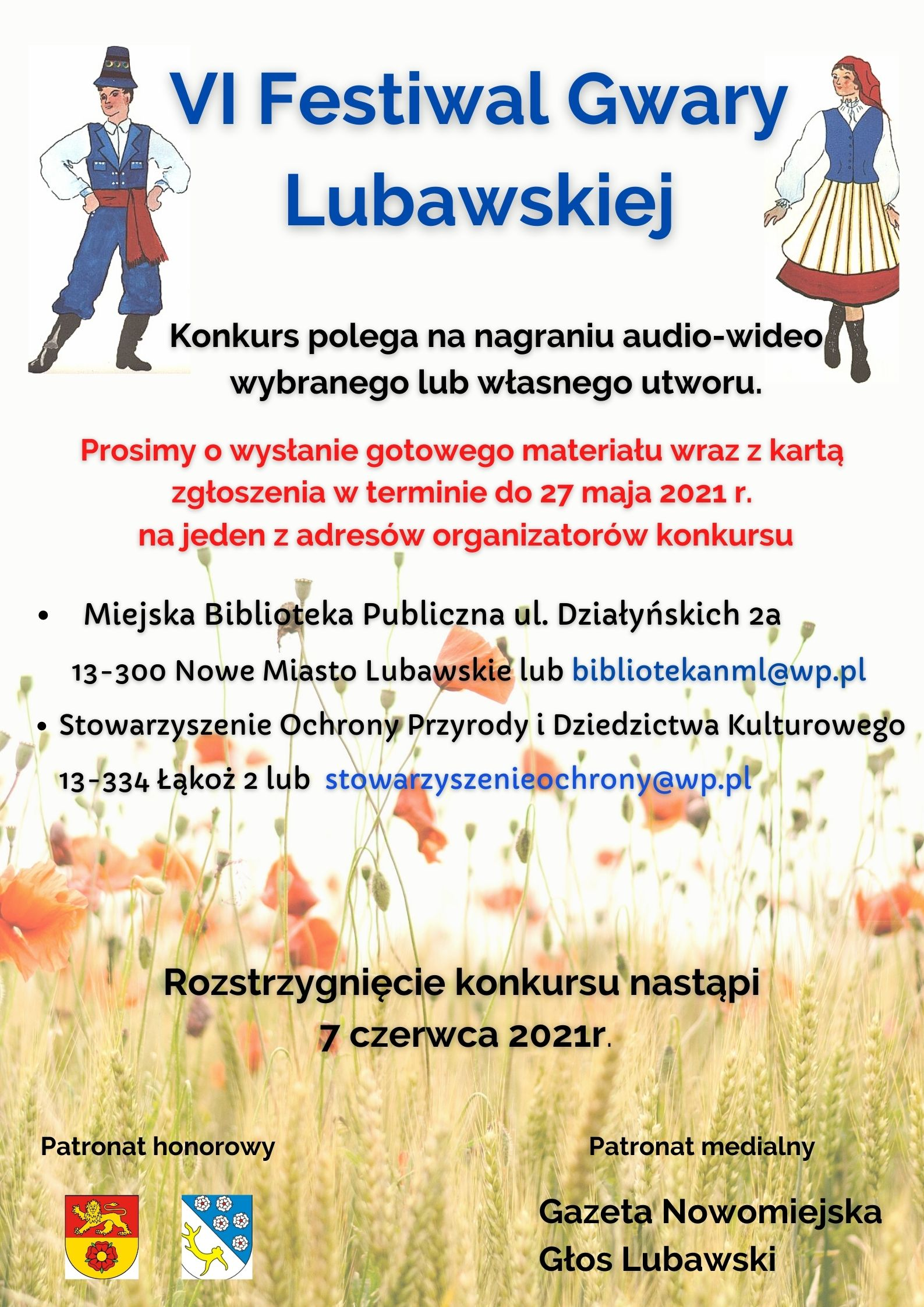 plakat informujący o Festiwalu Gwary Lubawskiej