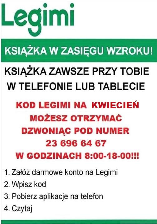 plakat informujący o darmowych kodach LEGIMI