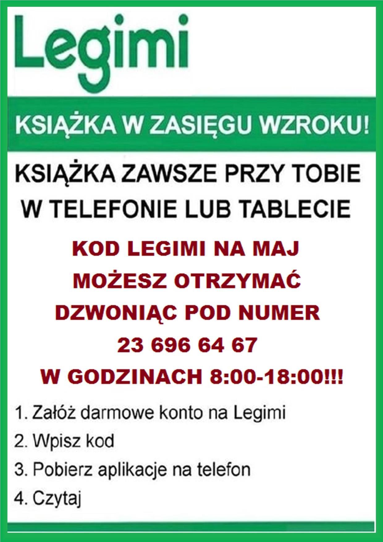 plakat informujący o kodach legimi na maj