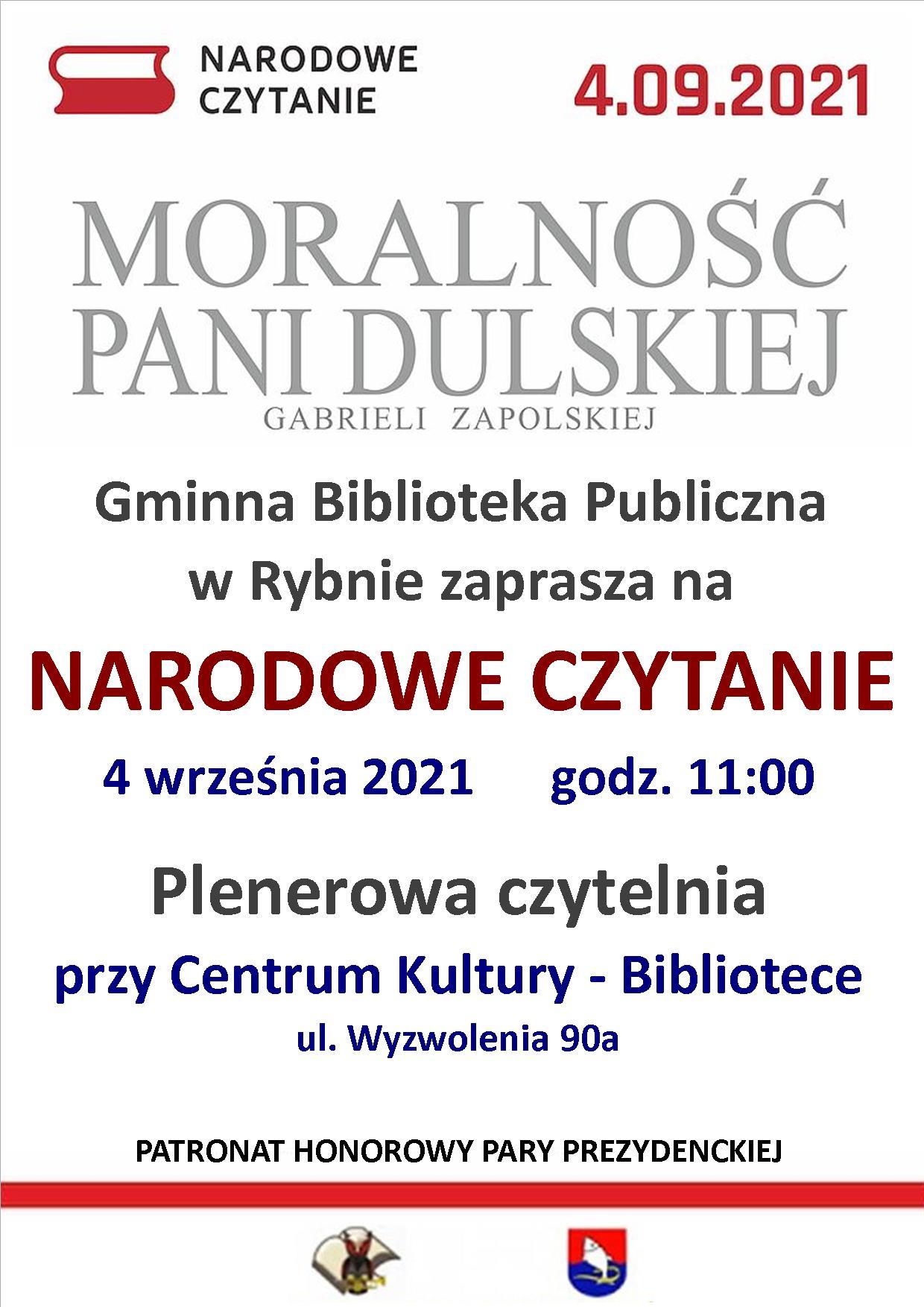plakat informujący o akcji Narodowe Czytanie