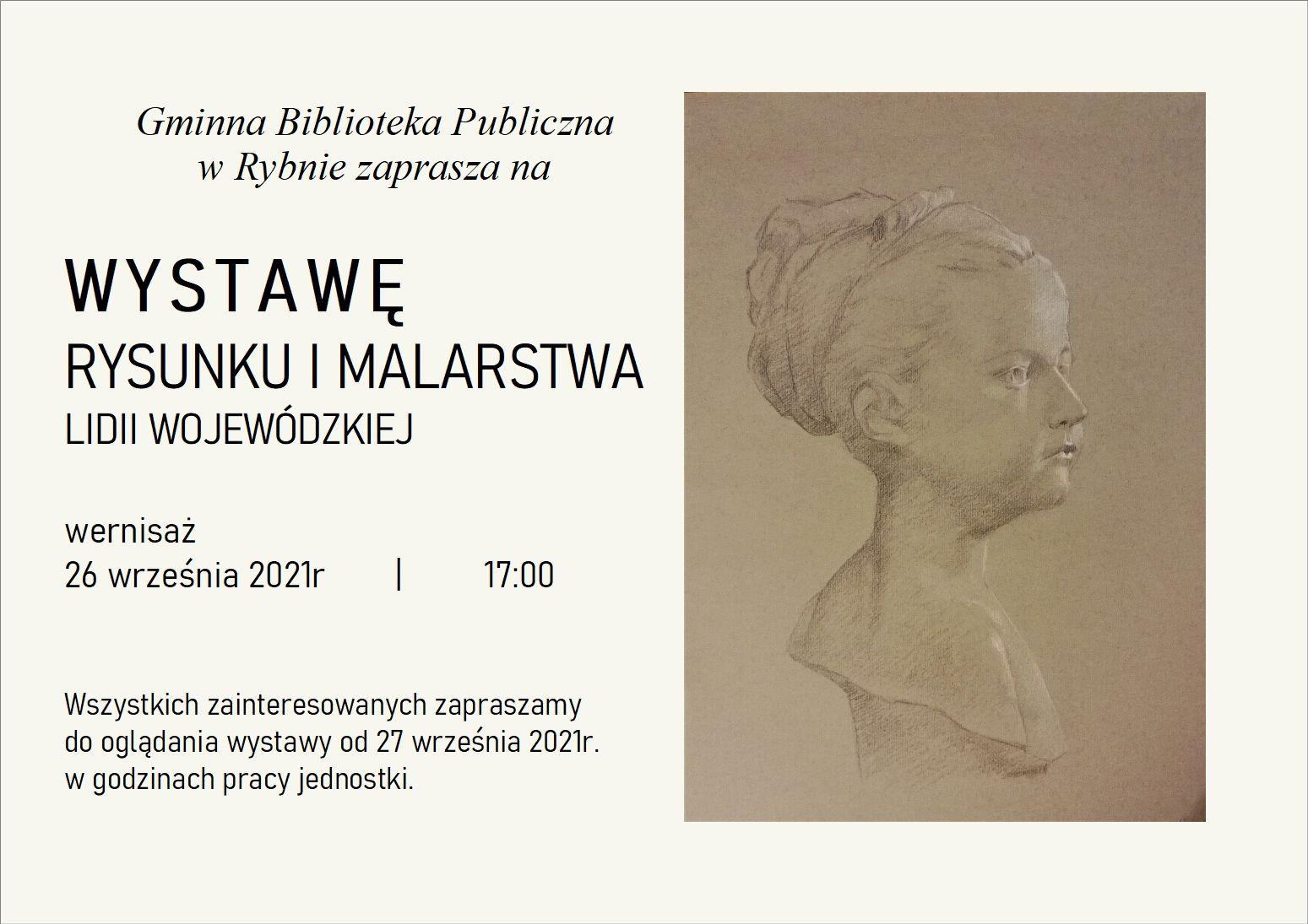 plakat informujący o wystawie rysunku i malarstwa